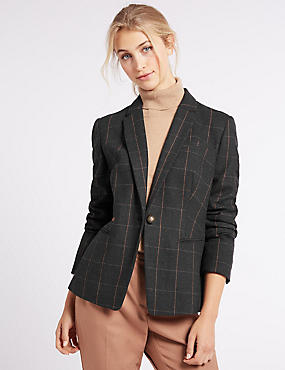 Checked 1 Button Jacket, NAVY MIX, catlanding