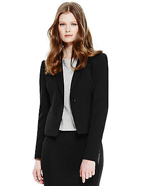 1 Button Staggered Seam Short Blazer, BLACK, catlanding