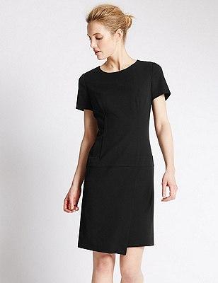 Short Sleeve Wrap Dress, BLACK, catlanding