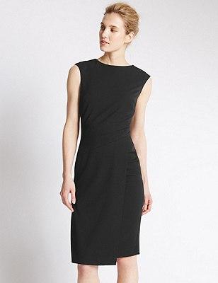 Asymmetric Hem Fan Stitch Shift Dress, BLACK, catlanding