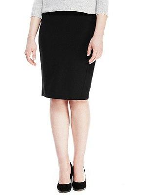 Staggered Seam Pencil Skirt, BLACK, catlanding