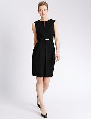 Origami Pleated Waist Shift Dress with Belt, BLACK, catlanding