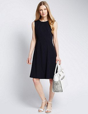 Diagonal Skater Dress, NAVY, catlanding