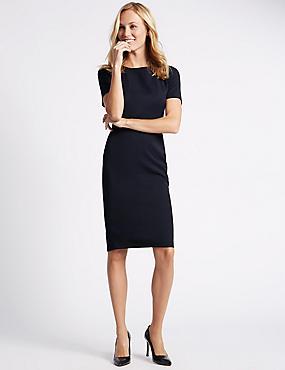 Rechte jurk met korte mouwen en diagonaal motief, MARINE, catlanding