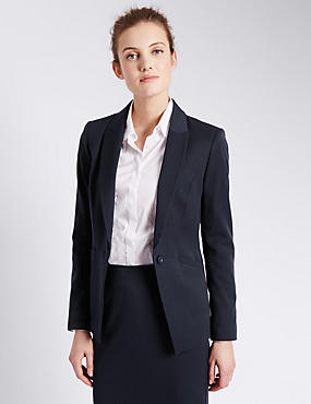 1 Button Welt Pocket Blazer, NAVY, catlanding