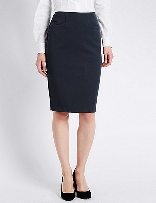 Welt Pockets Pencil Skirt, NAVY, catlanding