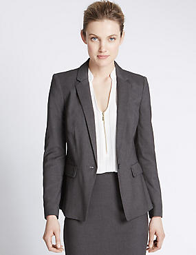 Curve Pocket Single Button Blazer, CHARCOAL, catlanding