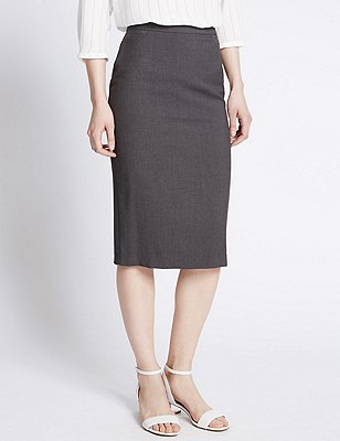 Welt Pockets Pencil Skirt, CHARCOAL, catlanding