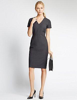 Multi Stitch Short Sleeve Shift Dress, CHARCOAL, catlanding