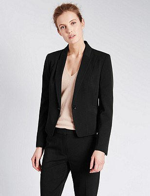 1 Button Seam Short Jacket, BLACK, catlanding