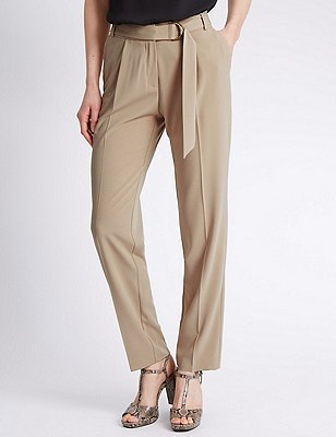 Slim Leg Belted Trousers, NEUTRAL, catlanding