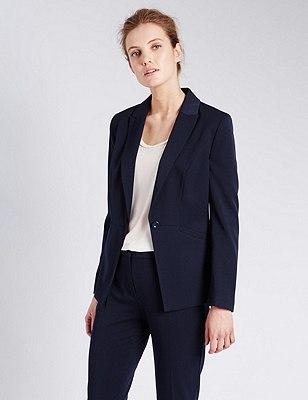 1 Button Angle Seam Short Jacket, NAVY, catlanding