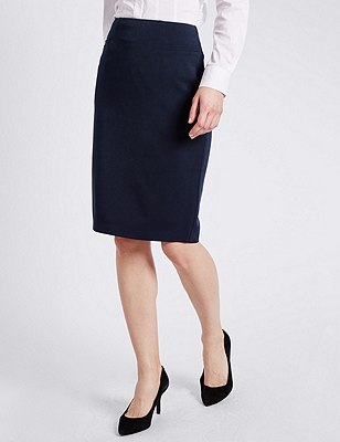 Angle Seam Pencil Skirt, NAVY, catlanding