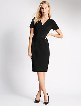 Lined Short Sleeve Shift Dress , BLACK, catlanding