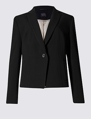 4-Way Stretch Stitched 1 Button Seam Short Jacket, BLACK, catlanding
