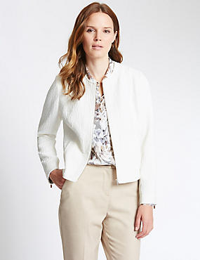 Loose Fit Zip Closure Jacqurd Jacket, SOFT WHITE, catlanding