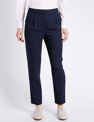 Pinstriped Straight Leg Trousers with New Wool, NAVY MIX, catlanding
