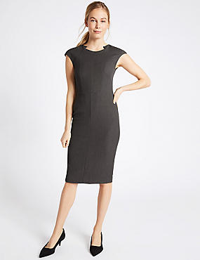 Stitch Detail Cap Sleeve Shift Midi Dress, CHARCOAL, catlanding