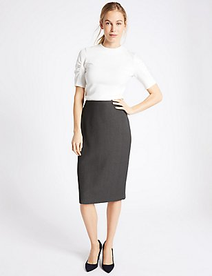 Textured Pencil Midi Skirt, CHARCOAL, catlanding