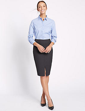 Welt Pocket Split Front Pencil Skirt, CHARCOAL, catlanding