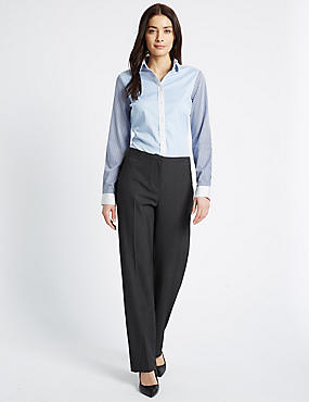 Seam Stitch Straight Leg Trousers, CHARCOAL, catlanding
