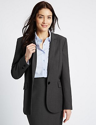Piped Single Button Blazer, CHARCOAL, catlanding