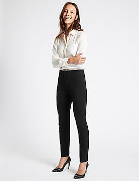 Panel Detail Slim Leg Trousers, BLACK, catlanding