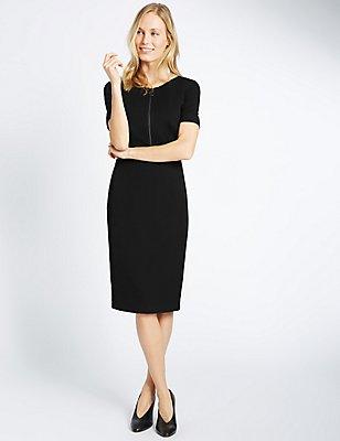 Zipped Short Sleeve Shift Dress, BLACK, catlanding