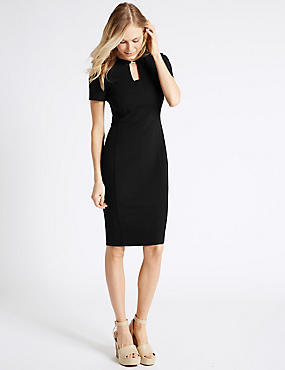 Metal Tab Shift Dress, BLACK, catlanding