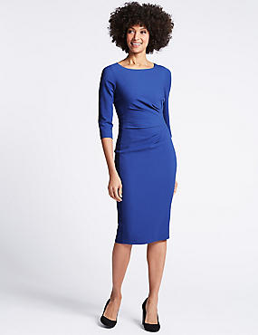 Drape 3/4 Sleeve Shift Midi Dress, BLUE, catlanding