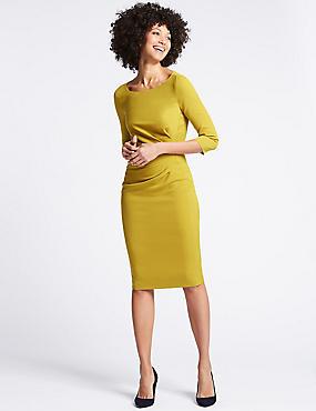 Drape 3/4 Sleeve Shift Midi Dress, OCHRE, catlanding