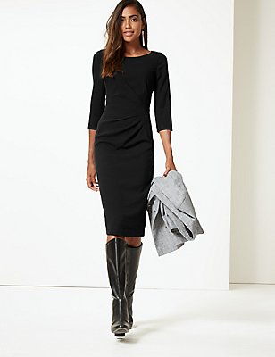 Drape 3/4 Sleeve Shift Midi Dress, BLACK, catlanding