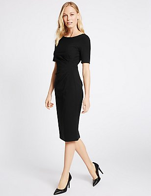Drape Waist Shift Dress, BLACK, catlanding