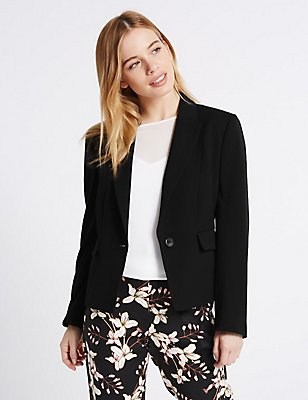 PETITE Panel Detail Short Jacket, BLACK, catlanding