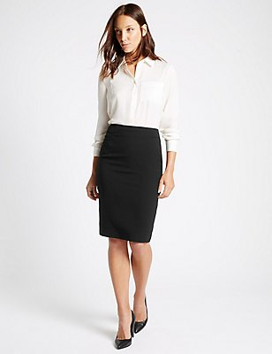 Panel Detail Pencil Skirt, BLACK, catlanding