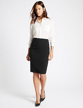 Split Back Pencil Skirt, BLACK, catlanding