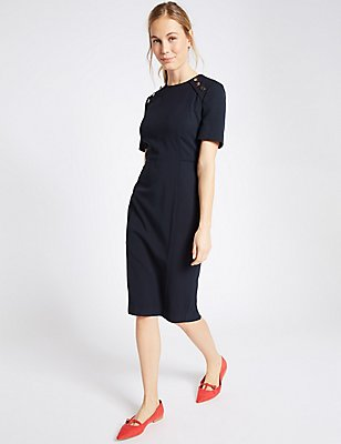 Button Shoulder Piped Shift Midi Dress, NAVY, catlanding