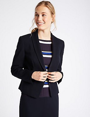 Grosgrain Trim Single Button Blazer, NAVY, catlanding
