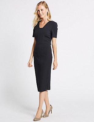 Seam Detail Short Sleeve Shift Midi Dress, NAVY, catlanding
