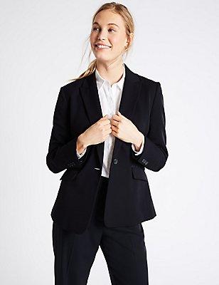 Grosgrain Trim Single Button Jacket, NAVY, catlanding
