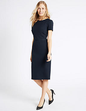 Panel Detail Shift Dress, NAVY, catlanding