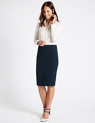 Grosgrain Trim Pencil Skirt  , NAVY, catlanding