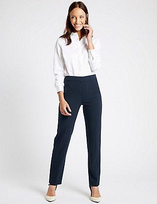 Pantalon droit à bordures gros-grain, BLEU MARINE, catlanding
