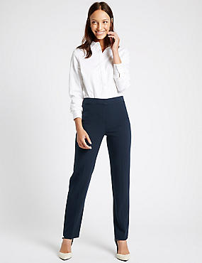 Grosgrain Trim Straight Leg Trousers, NAVY, catlanding