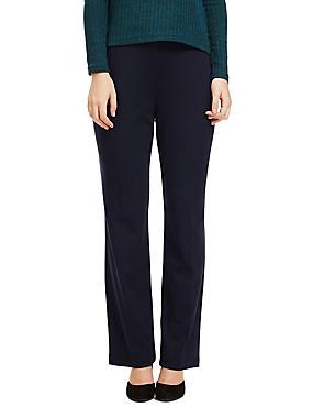 Flat Front Straight Leg Trousers, DARK NAVY, catlanding