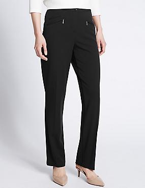 3 Pocket Straight Leg Trousers, BLACK, catlanding