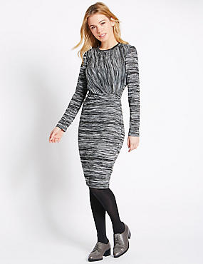 PETITE Space Dyed Bodycon Dress, GREY MIX, catlanding