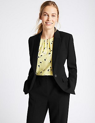 Single Button Crepe Jacket, BLACK, catlanding