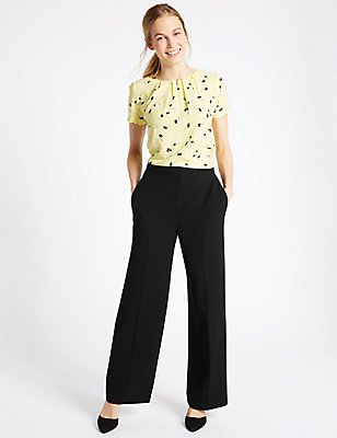 Crepe Wide Leg Trousers, BLACK, catlanding