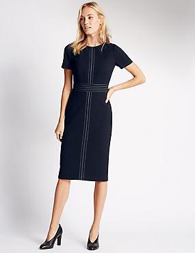 Stitched Shift Dress, NAVY, catlanding